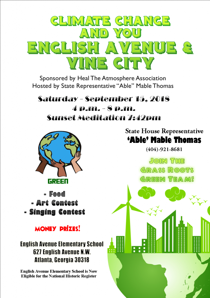 Heal the Atmosphere Association Able Mable Thomas Climate Change and You Event